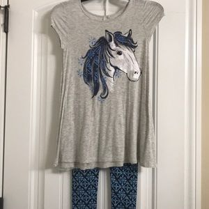 Girls Justice Horse Shirt and Leggings Set